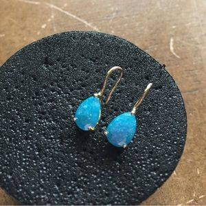 Shimmery Blue Gold Plated Teardrop Earrings